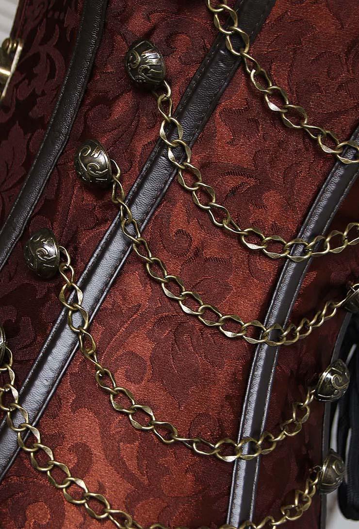 Overbust Steel Boned Corset, Brown Steel Boned Steampunk Corset, Steel Boned Steampunk Style Overbust Corset, #N5177
