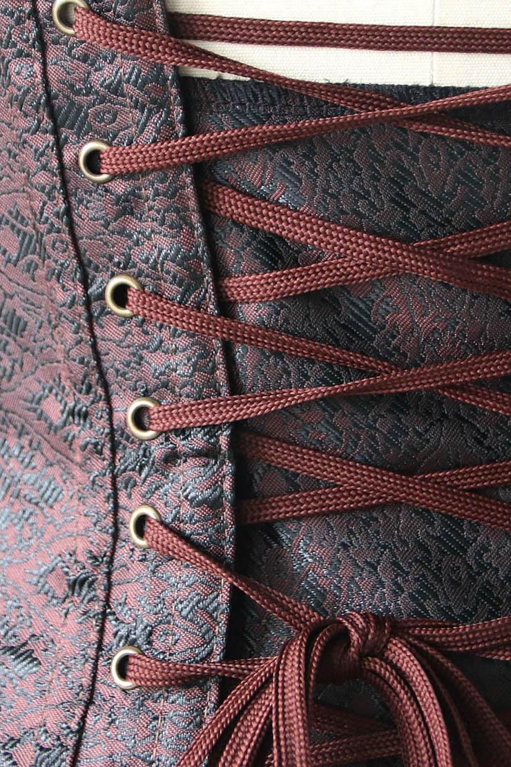 Punk Style Brown Steel Boned Corset, Cheap Waist Cincher Underbust Corset, Fashion Brocade Underbust Corset, Women