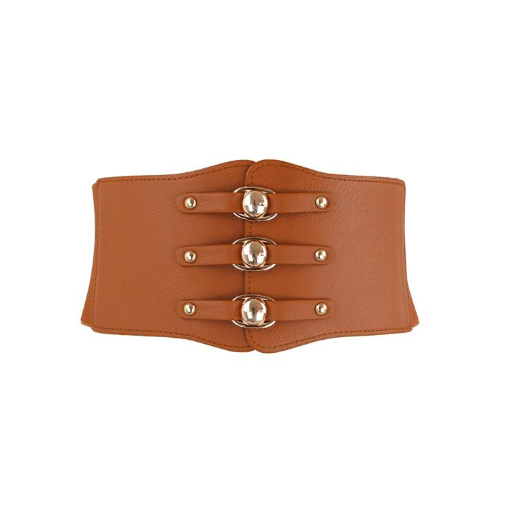Fashion Brown Leather Stretch Waistband High Waisted Cincher Corset Belt N14794