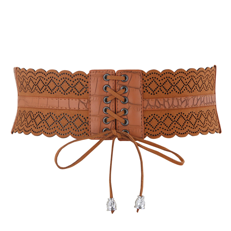 Fashion Brown Leather Stretch Waistband Front Lace-up Hollow Cincher Corset Belt N14798