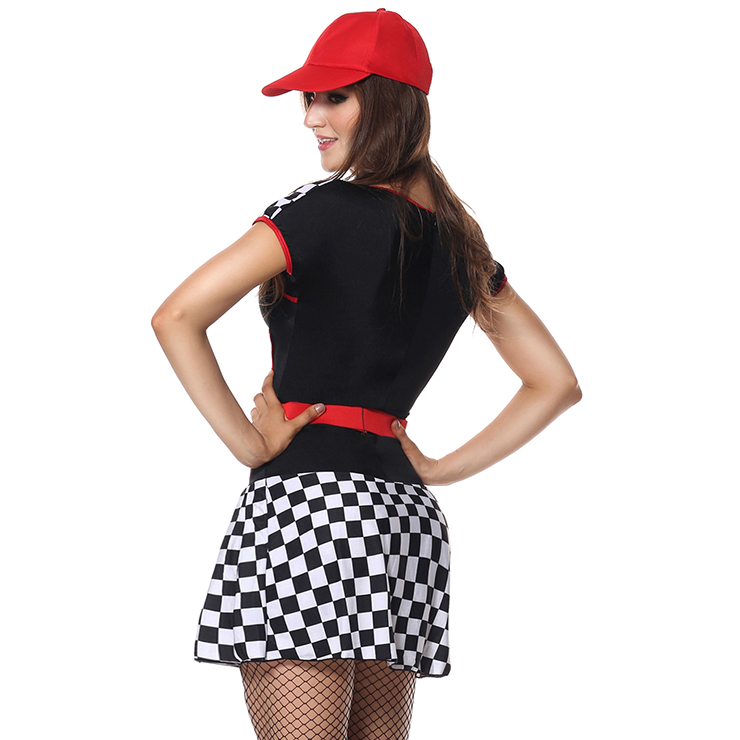 Built For Speed Costume, Light Up Racer Girl Costume, Womens Racer Costume, Light Up Racer Costume, Acing Gril Costume, Sexy Racing Gril Costume, Red-black Black-white Grid Racing Gril Costume#N6197