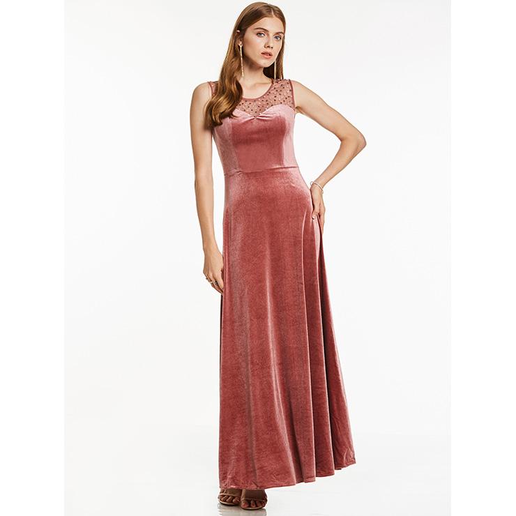 Women\'s Elegant Burgundy Round Neck Sleeveless Beaded Velvet Prom ...