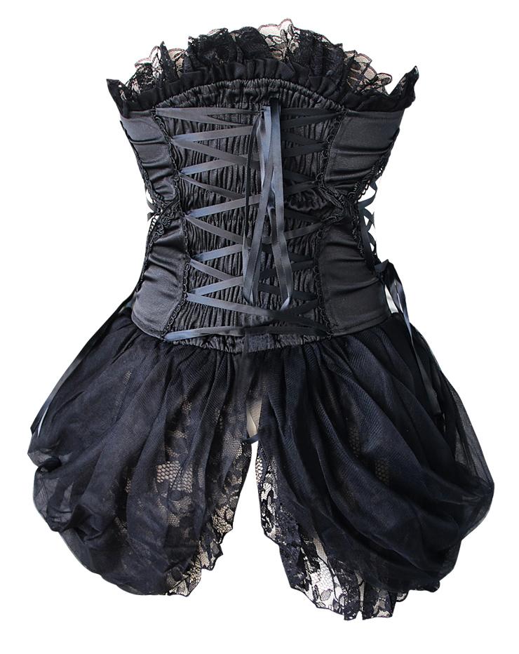 Burlesque Black Bustier, Corset style dress, Black Bustier Dress, #N4653