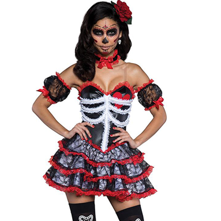 Burlesque Black Red Lace Trim Corset Dress Halloween Costume N11623