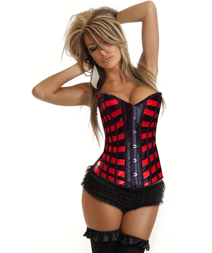 Sexy Red & Black Ribbons Overbust Busk Closure Corset N1304