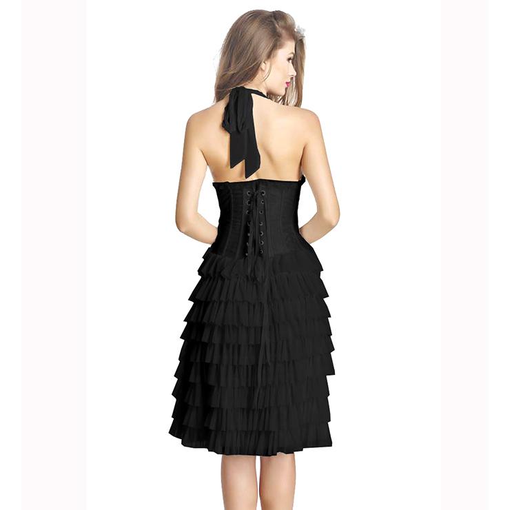 Black Corset Fancy Dress Costume, Ladies Sexy Burlesque Dress Corset, Women