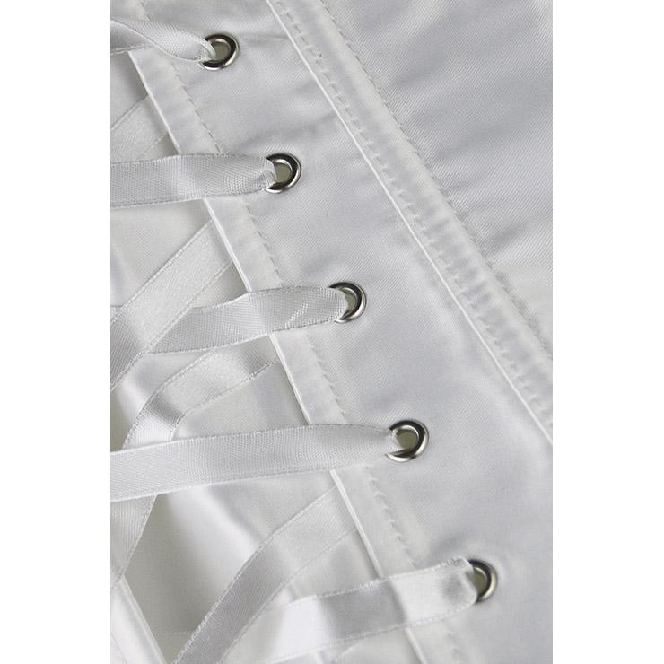 White Corset Fancy Dress Costume, Ladies Sexy Burlesque Dress Corset, Women