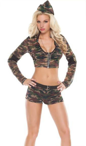 Camouflage GI Girl Costume, Sexy Soldier Costume, Army Military Camouflage Costume, #N7949
