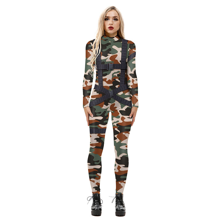 New Product Camouflage 3D Printed High Neck Long Bodycon Jumpsuit Halloween Costume N21250