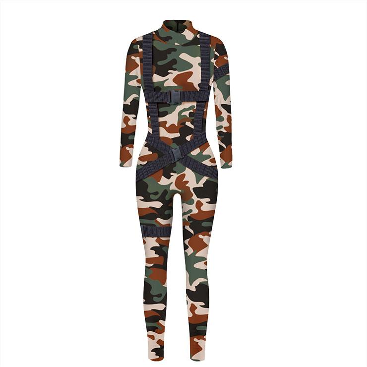 Camouflage Printed Jumpsuit, HalloweenCamouflage High Neck Slim Fit Bodysuit, Halloween Bodycon Jumpsuit, Long Sleeve High Neck Jumpsuit, HalloweenCamouflage Jumpsuit for Women, #N21250