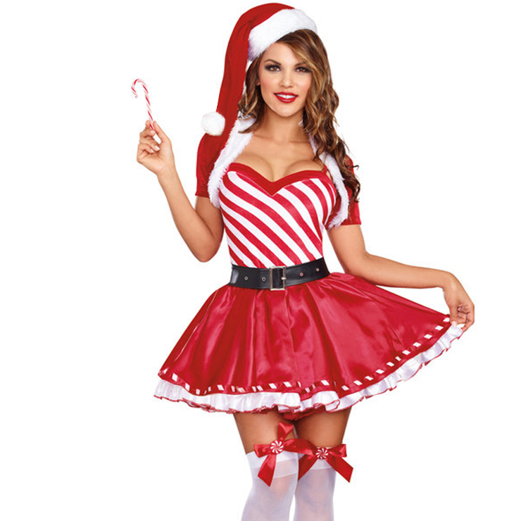 Women's Candy Cane Cutie Mini Dress Cosplay Christmas Costume XT12251