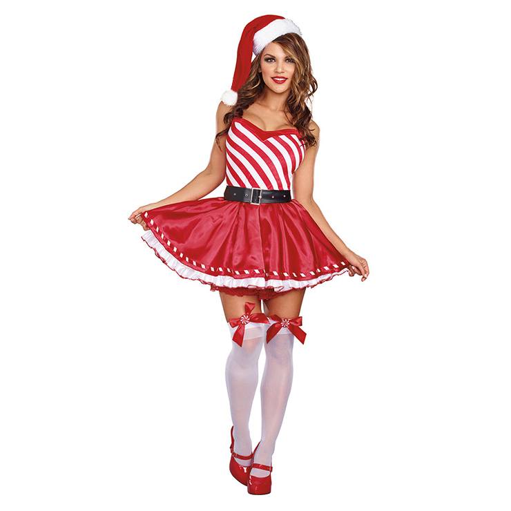 Candy Cane Cutie Costume Costume, Mrs Santa Clause Costume, Miss Santa Costume, Xmas Costume, Santa Girl Costume, Sexy Christmas Mini Dress, #XT12251