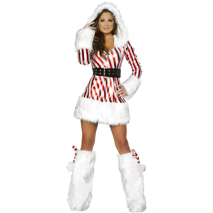 Candy Cane Hooded Fluff Long Sleeves Christmas Costume with Feet Set XT18361