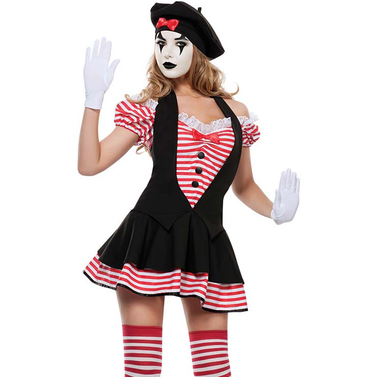French Mime Costume Diy: Candy Striped Mime Costume N9973