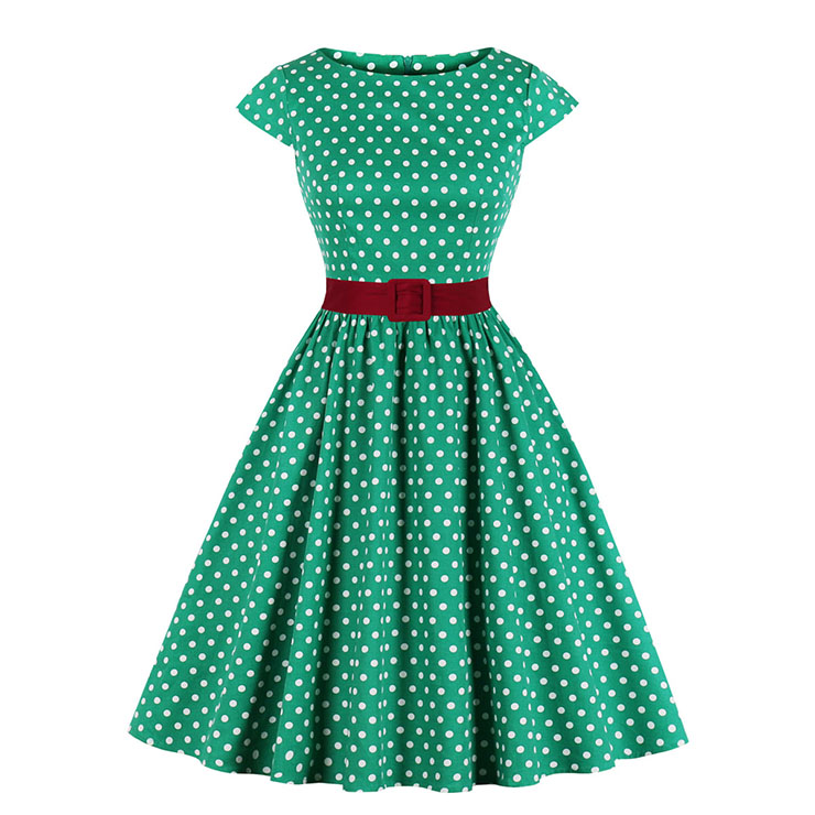 Vintage Polka Dots Bateau Neck Cap Sleeve Belted Cocktail Party A-line Dress N19625
