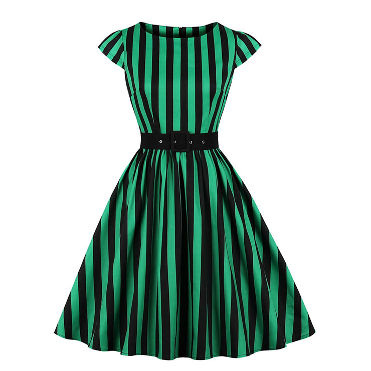Retro Black And Green Stripes Round Neck Cap Sleeve Belted Cocktail Party A-line Dress N20783
