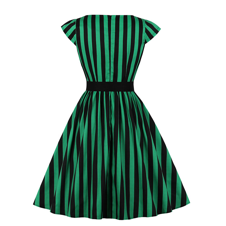 Vintage Cap Sleeve Stripes Midi Dress, Retro Stripes Ruffled Swing Dress, Classical Cap Sleeve Printed Midi Dress, Women