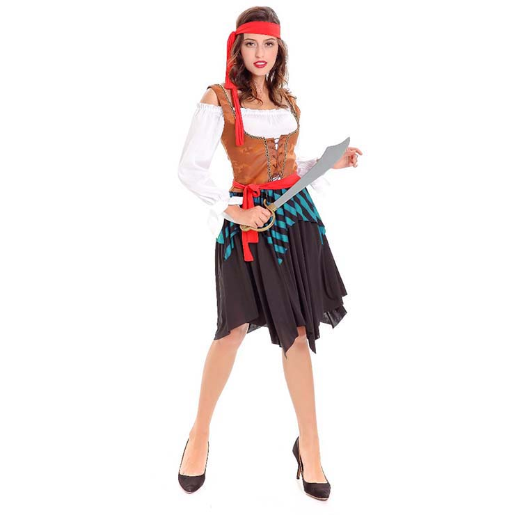 Sexy Pirate Costume, Deluxe Halloween Costume, Pirates Fancy Dress Costume, Cheap Women