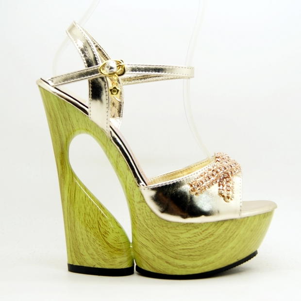 Carve High Heel Sandals, High Heel PU Sandals, Gold Carve Sandals, #SWS20006