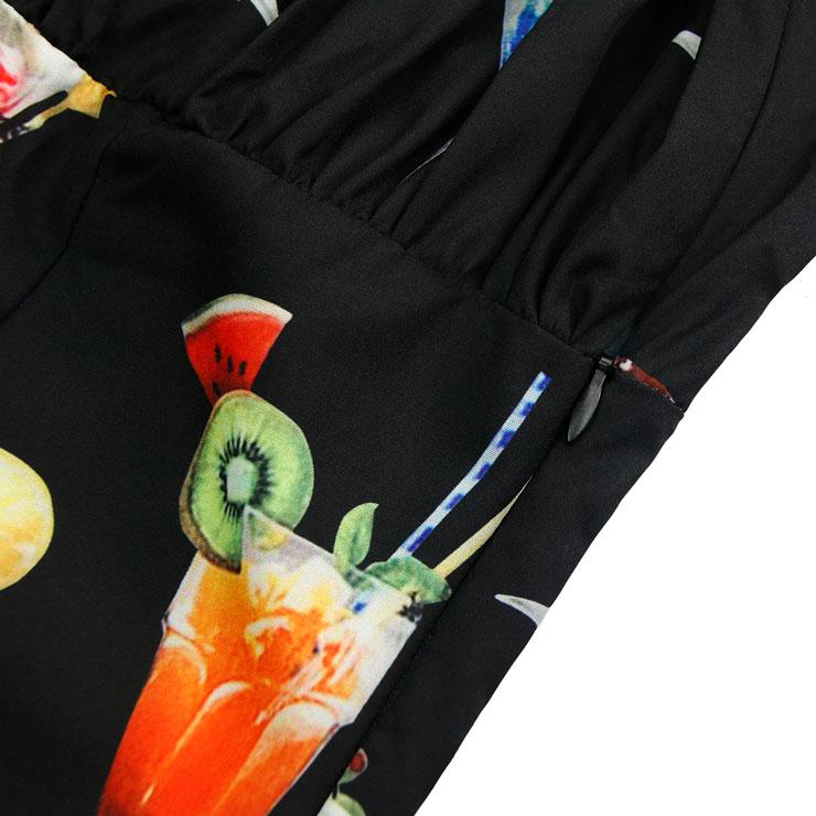Cocktail Print Top, Short Sleeve Top, Slim Waist Top, Women