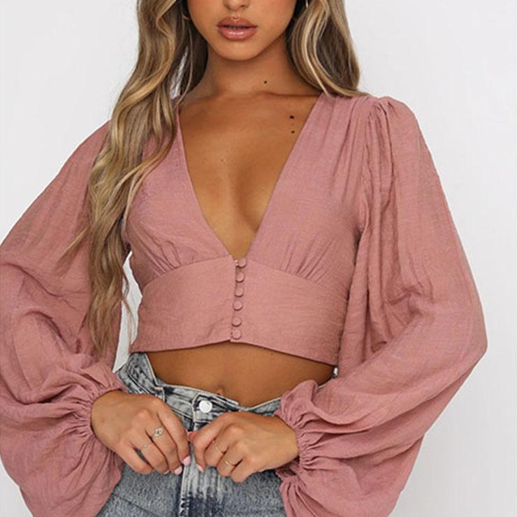 Fashion Casual Dark-pink Cotton Deep V Neck Lantern Sleeve High Waist Elastic Crop Top N21112