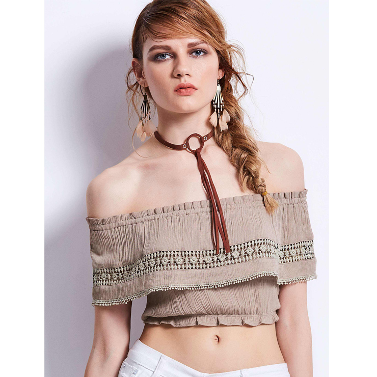 d2b34209878903 Casual Layered Crochet Lace Off Shoulder Crop Top N13078