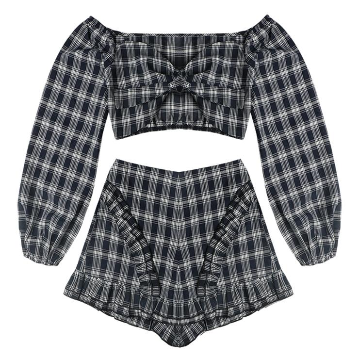 Plaid Print Pant Sets, Fshion Pant Sets for Women, Plaid Print Short Set, Women