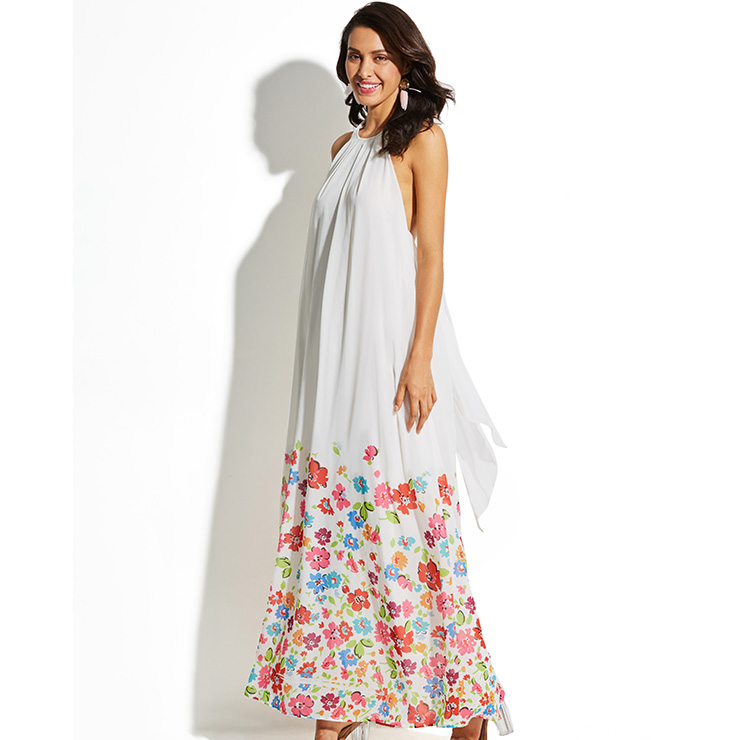 Women's Casual White Floral Print