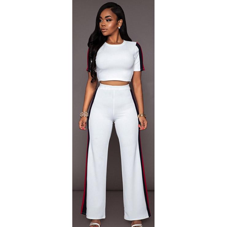Women S Casual White Sport Suit Short Sleeve Crop Top Wide Leg Pants