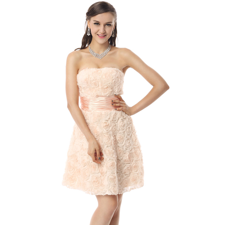 2018 Champagne A-line Empire Waist Lace Flowers Short-Length Prom ...
