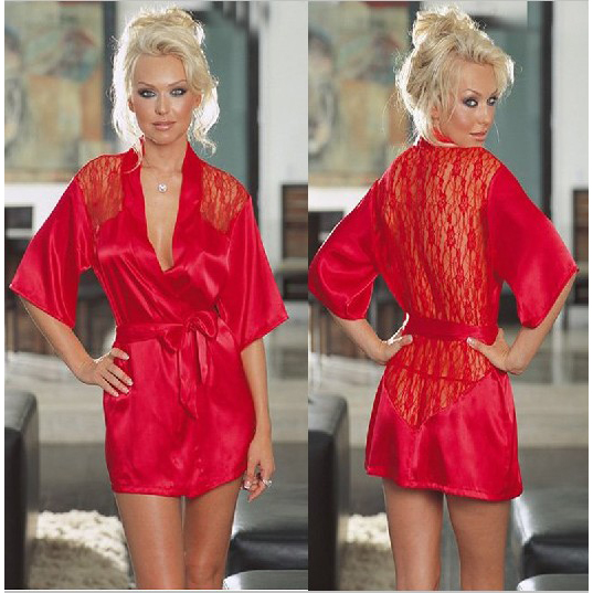 Charmeuse Robe and G-String, Silk Robe and Thong, Sexy Sleepwear Robe, Christmas Lingerie, #C2086