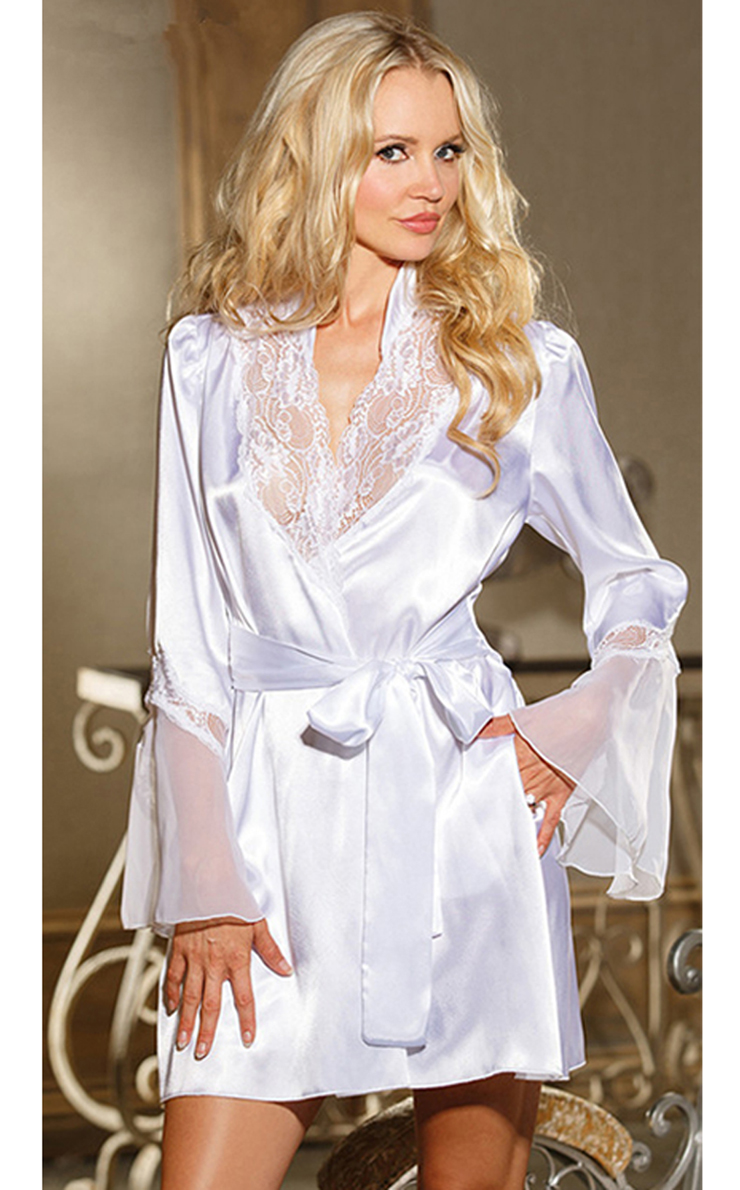 buying new luxury fashion official shop Charmeuse with Chiffon & Lace Robe N7931