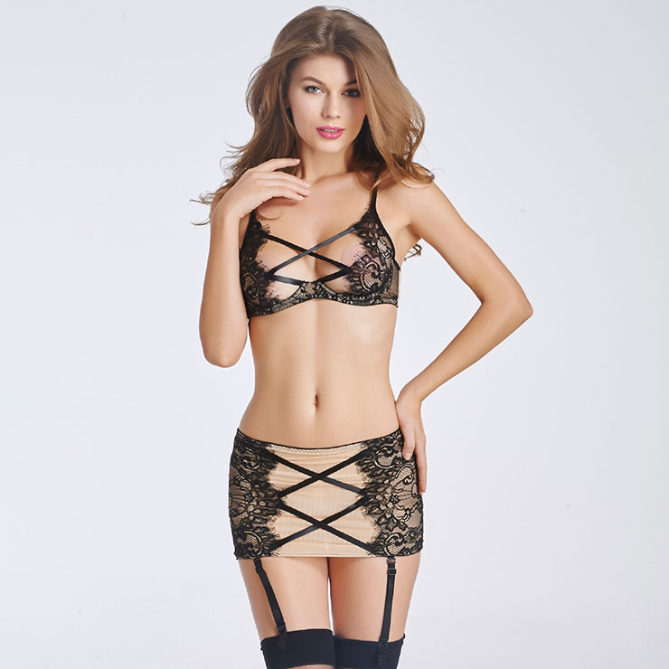 Charming Beauty Apricot Lace Lingerie Skirt Set N11278