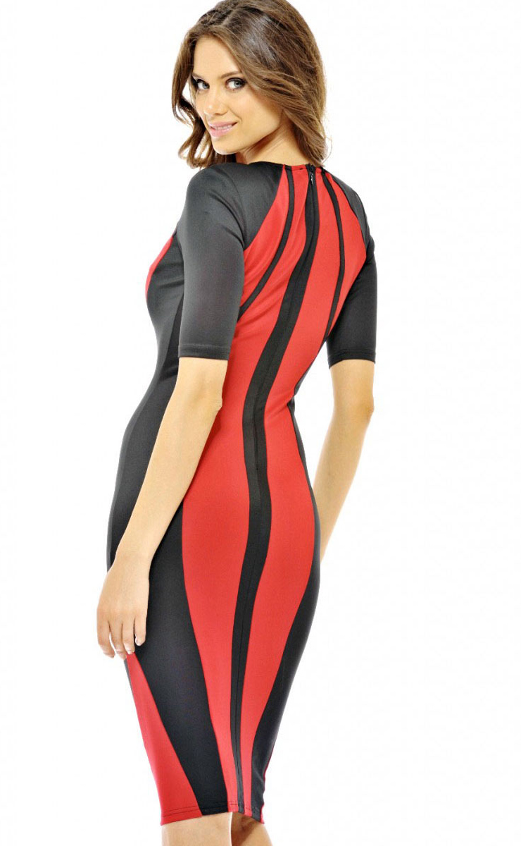 Charming Color Block Pencil Midi Dress N8909