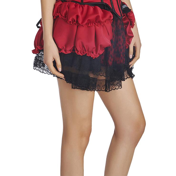 Charming Fashion Red Satin Ruffle Lace trim Skirt Petticoat HG11352