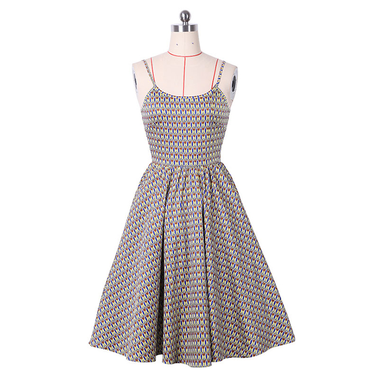 1950's Sexy Strap Floral Print Casual Swing Dress N14161