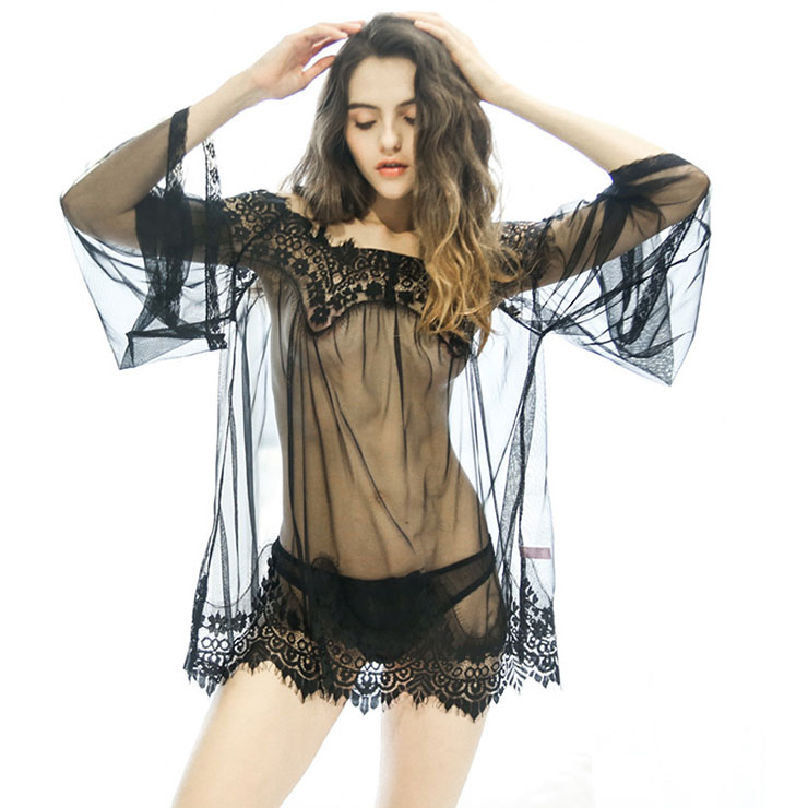 824c08419a Charming Black Mesh Patchwork Sheer Smock Nightwear Lingerie Mesh Cover Up  N16502