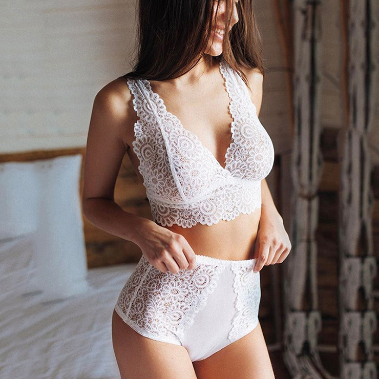 Charming White Floral Lace Bra Top and Panty Lingerie Set N16412