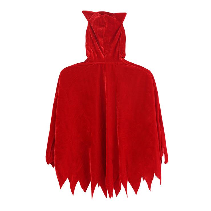 Childs Devil Cape Costume, Childrens Girls Red Little Devil Hooded Cape, Toddler Costume for Halloween, #N5968