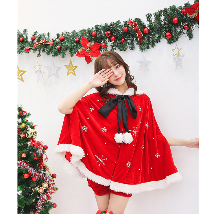 Women's Christmas Hooded Cape Cloak Costume with Shorts XT15259