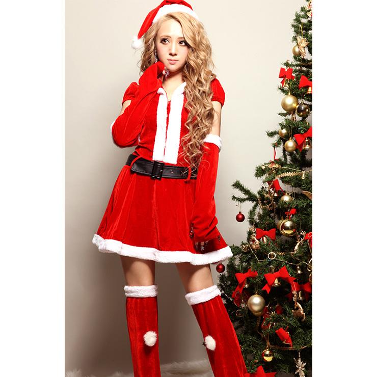 Women's Red Velvet Short Sleeves Furry Mini Dress with Hat Christmas Costume XT18365