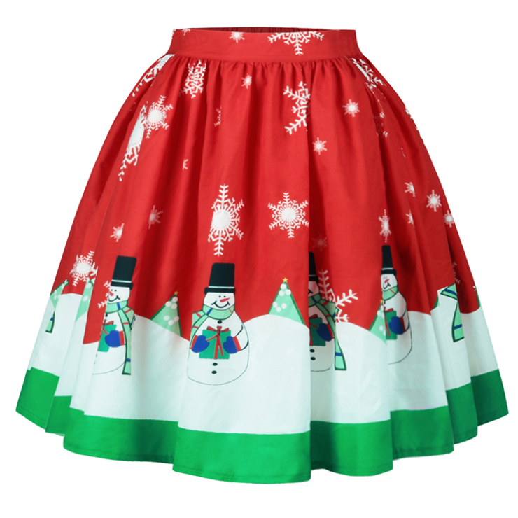 Christmas Skater Skirt, Sexy Skater Skirt for Women, A Line Pleated Skirt, Christmas Holiday Print Skirt, Retro Fashion Skirts, Christmas 3d Digital Print Skater Skirts, #N15068