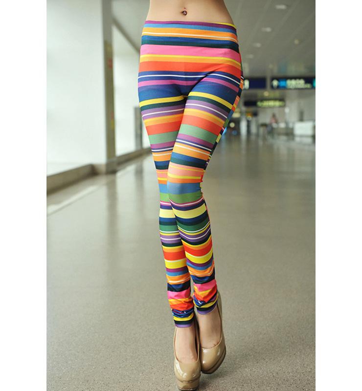 Chromatic Stripe Printed Leggings L7456