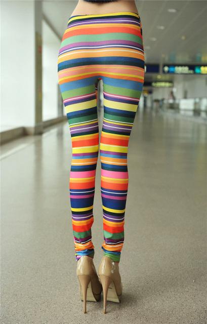 Horizontal Stripes Jeans Rainbow Color Printing Leggings Colored Printed Jeggings L7456