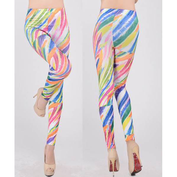 Colorful Feather Print Leggings L7457