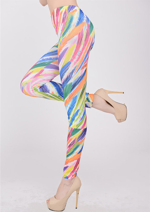 Rainbow Feather Print Jeans Color Printing Leggings Colored Feathers Jeggings L7457