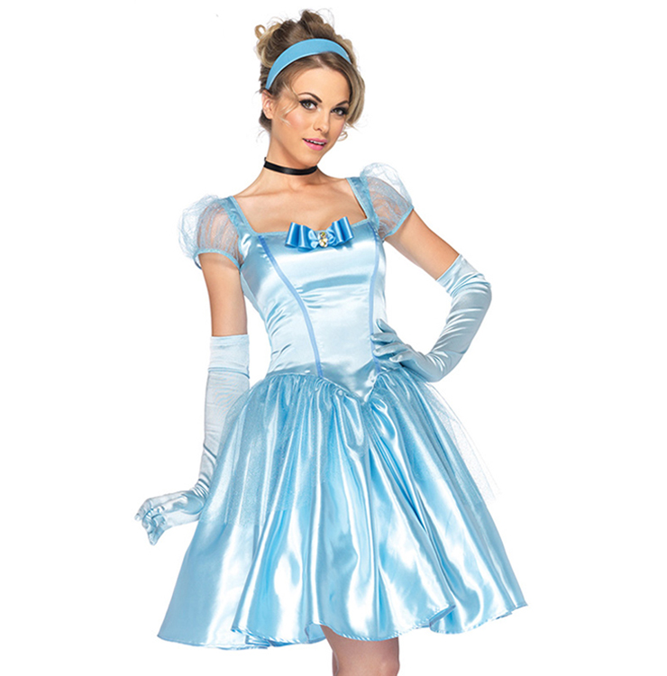 Deluxe Short Cinderella Celeste Puff Sleeves Midi Dress Adult Role Play Costume With A Little Defect N6561