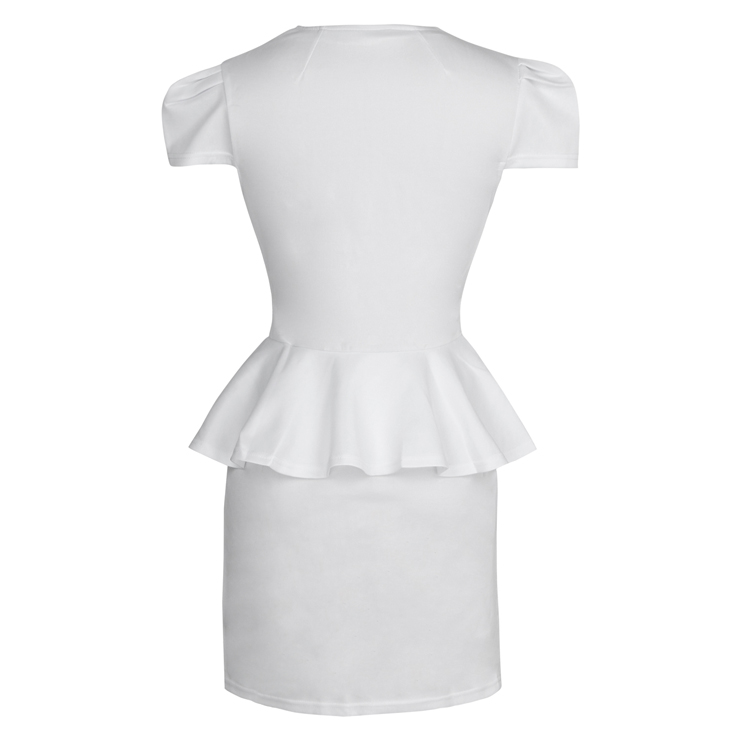 9244ab3004 Classic White Deep V Neck Peplum High Waist Mini Dress N7625