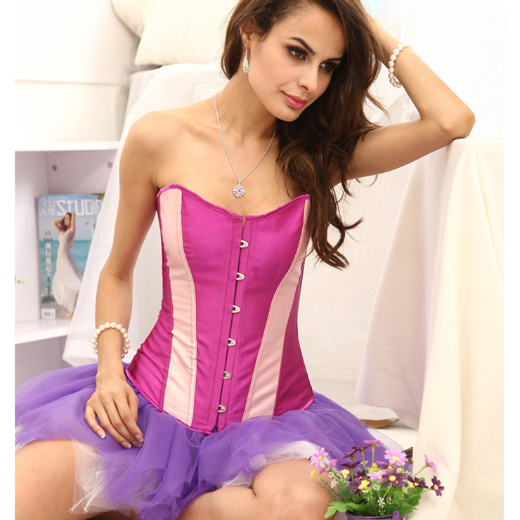 Classic Purple Corset with Pink Stripe N2460