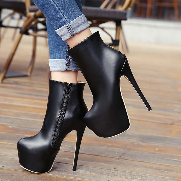 Suede Rivets High-Heeled Boots SWB80019